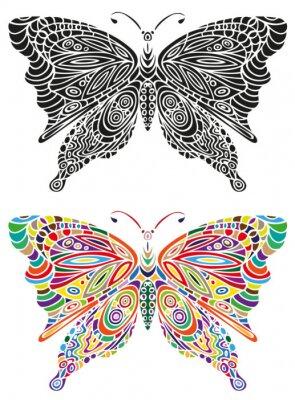 Fototapet fjäril prydnad färg och svart