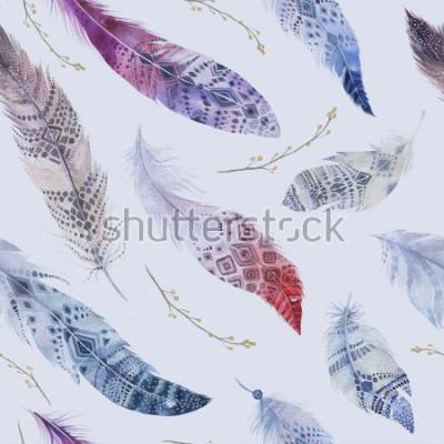 Fototapet Fjdrar mönster. Akvarell elegant bakgrund. Akvarellfärg ekologisk designutskrift. Solomon upprepande färg boho konsistens med handritad chic tapeter. Fågel illustration.