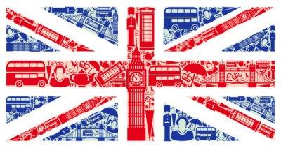 Fototapet Flagga av England från symboler i Förenade kungariket och London