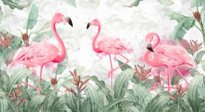 Fototapet flamingos in tropical streams with textured background, photo wallpaper