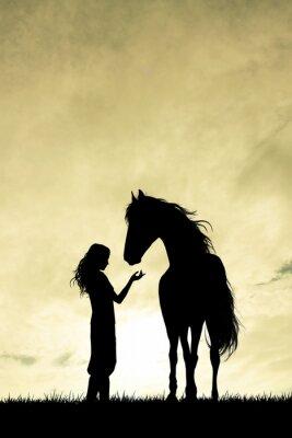 Fototapet flicka och häst silhuett