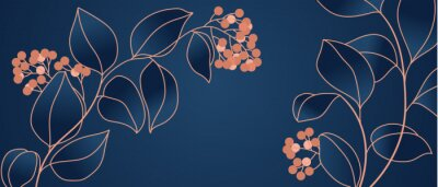 Fototapet Floral seamless navy blue and copper metallic plant background vector for house deco