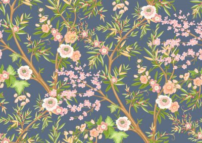 Fototapet Floral seamless pattern in chinoiserie style. Vector illustration.