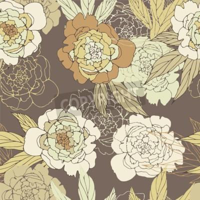 Fototapet Floral seamless pattern with peony.
