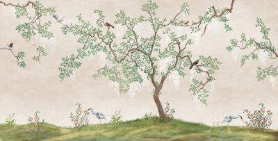 Fototapet Flowering tree in the Japanese garden with birds. Fresco, Wallpaper for interior printing.