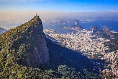 Fototapet Flygfoto av Kristus Frälsaren och Rio de Janeiro