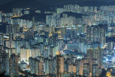 Fototapet Flygfoto över Hong Kong City