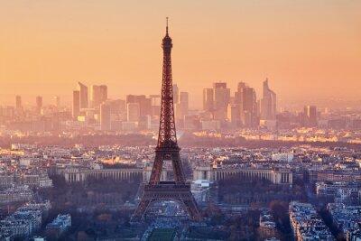 Fototapet Flygfoto över Paris på solnedgången