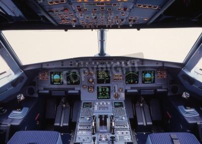 Fototapet flygplan cockpit av en modern passagerarplan
