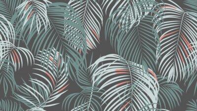 Fototapet Foliage seamless pattern, simple palm leaves on dark grey