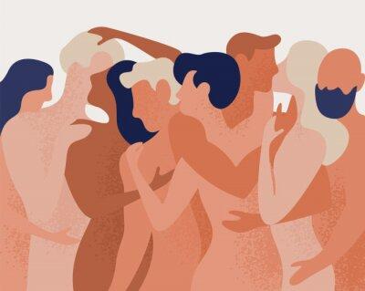 Fototapet Folkmassa av nakna män och kvinnor som kramar och kysser. Begreppet polygami, polyamory, öppen intim romantisk och sexuell relation, fri kärlek. Färgglad vektorillustration i platt tecknad stil.