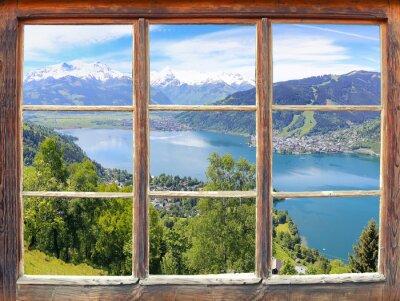 Fototapet Fönster med utsikt över Zell am See
