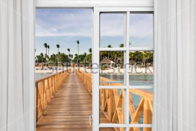 Fototapet fönster öppen utsikt över lusthuset i havet