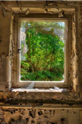 Fototapet Fönster till trädgården