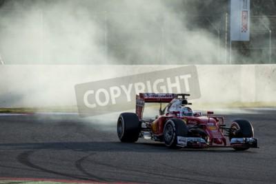 Fototapet Föraren Sebastian Vettel. Ferrari. Formula One testdagar på Circuit de Catalunya. Montmelo, Spanien. 2 mars 2016