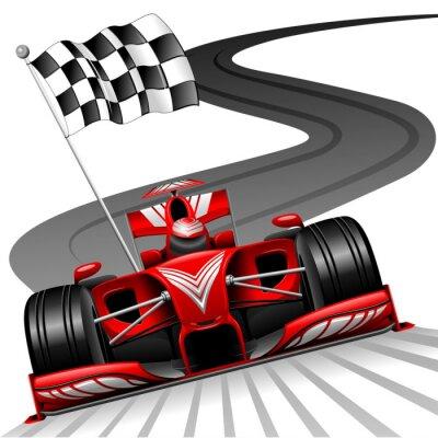 Fototapet Formel 1 röd bil på Race Track