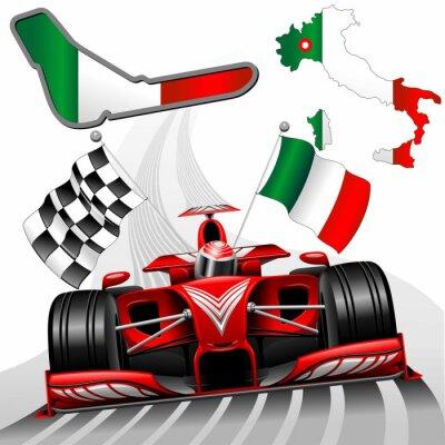 Fototapet Formel 1 röd racerbil GP Monza Italien