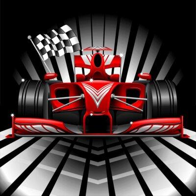 Fototapet Formel 1 röd racerbil och rutig flagga
