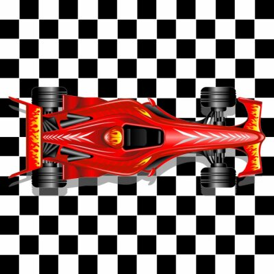 Fototapet Formel 1 röd racerbil på rutig bakgrund