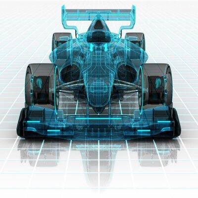 Fototapet formel biltekniken wireframe skiss framifrån