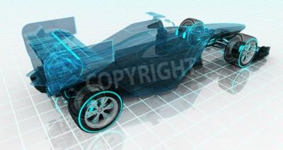 Fototapet formel biltekniken wireframe skiss övre bakifrån motorsport produkt bakgrund utformningen av min egen