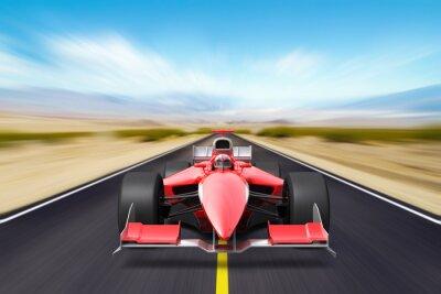 Fototapet Formel race röd bil