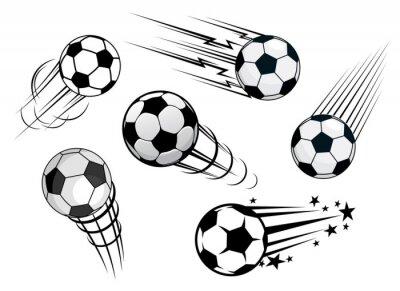 Fototapet Fortkörning fotbollar eller fotbollar