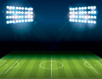 Fototapet Fotboll American Soccer Field Upplyst Illustration