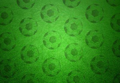 Fototapet Fotboll bollar mönster på grönt gräs bakgrund. Konceptuell fotboll kopia utrymme bakgrund.