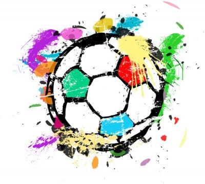 Fototapet Fotboll eller fotboll vektorillustration, flerfärgad färg splas