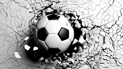 Fototapet Fotboll kollar med våld genom en vit vägg. 3d illustration.