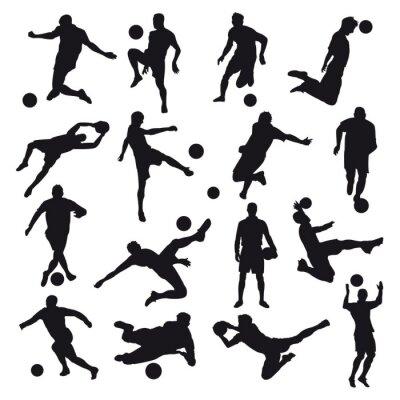 Fototapet fotboll Silhouettes