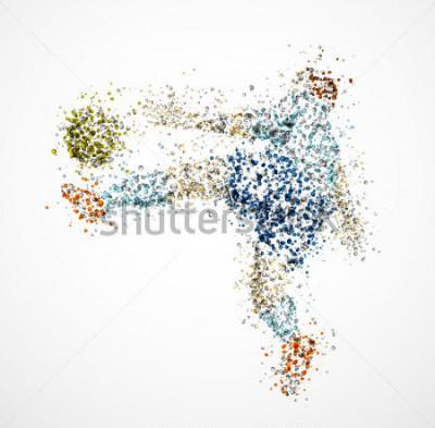 Fototapet Fotbollsspelare, sparka en boll. Eps 10