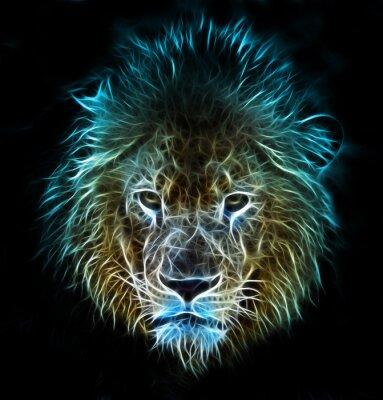 Fototapet Fractal digital fantasikonsten av ett lejon på en isolerad bakgrund
