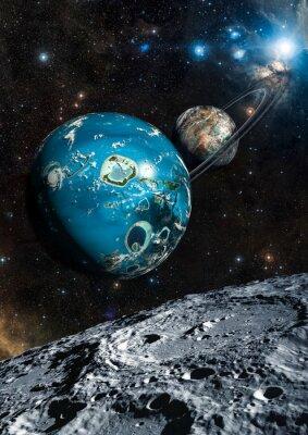 Fototapet Främmande Exo planet. Delar av denna bild som tillhandahålls av NASA