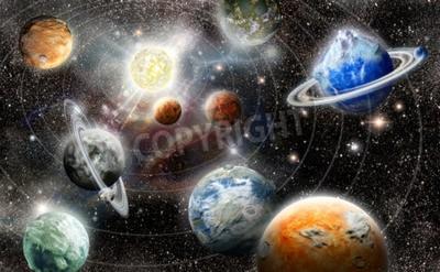 Fototapet främmande planet stjärnsystem i rymden