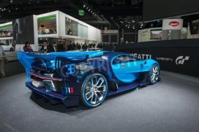 Fototapet Frankfurt, Tyskland - SEPTEMBER 16, 2015: Frankfurt International Motor Show (IAA) 2015. Bugatti Vision Gran Turismo - världspremiär.