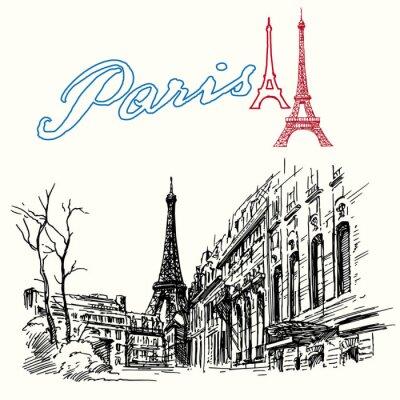 Fototapet Frankrike, Paris - Eiffeltornet - handritad uppsättning