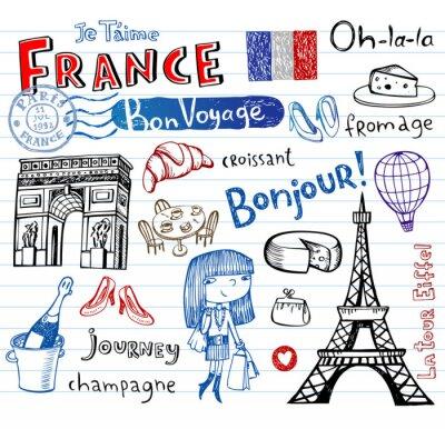 Fototapet Frankrike symboler som funky klotter