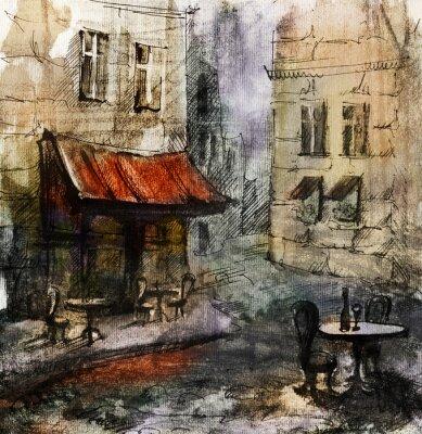Fototapet Franska utomhus European Cafe målning, grafisk ritning i färg