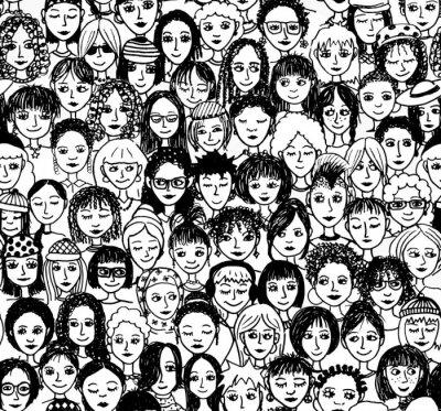 Fototapet Frauen - handgezeichnetes Hintergrundmuster / Endlosmuster mit vielen unterschiedlichen frauen (schwarz weiß Version)