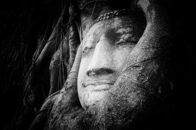 Fototapet Fredlig och lugn ansikte Buddha ristade på gamla sten