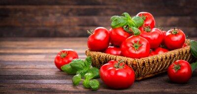 Fototapet Fresh ripe tomatoes and basil in the basket