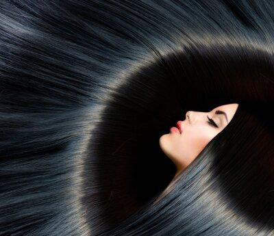 Fototapet Friska långt svart hår. Beauty brunett
