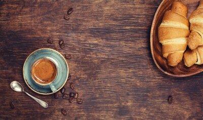 Fototapet Frukost med kaffe och croissanter