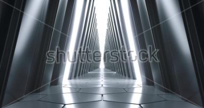 Fototapet Futuristisk realistisk stor Sci-FI korridor med vita ljus och reflektioner. 3D-rendering