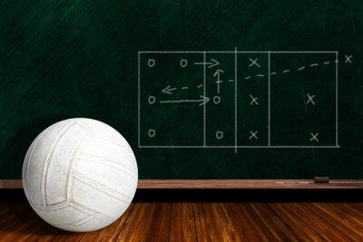 Fototapet Game Concept Med volleyboll och krita spelstrategi