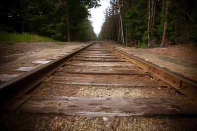 Fototapet Gamla järnvägsspår med vintage konsistens effekt
