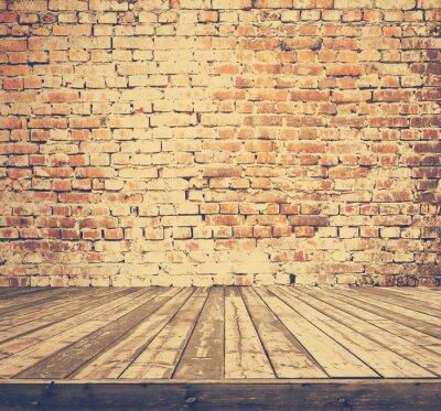 Fototapet gamla rum med tegelvägg, retro filtreras instagram stil