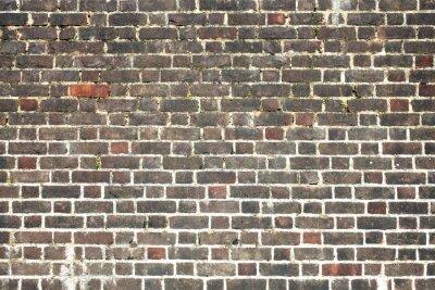 Fototapet Gamla stor ridit bedrövad röd tegelvägg bakgrund